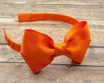 4107650ce8ec Orange Bow on Hard Headband
