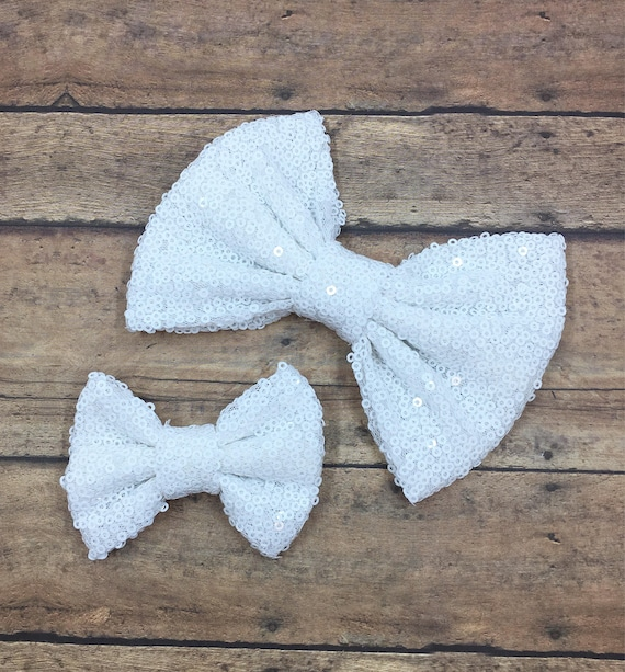 """School...Pigtails Bows silver dots 3.5/"""" wide lot of 2...4 total bows as picture"""