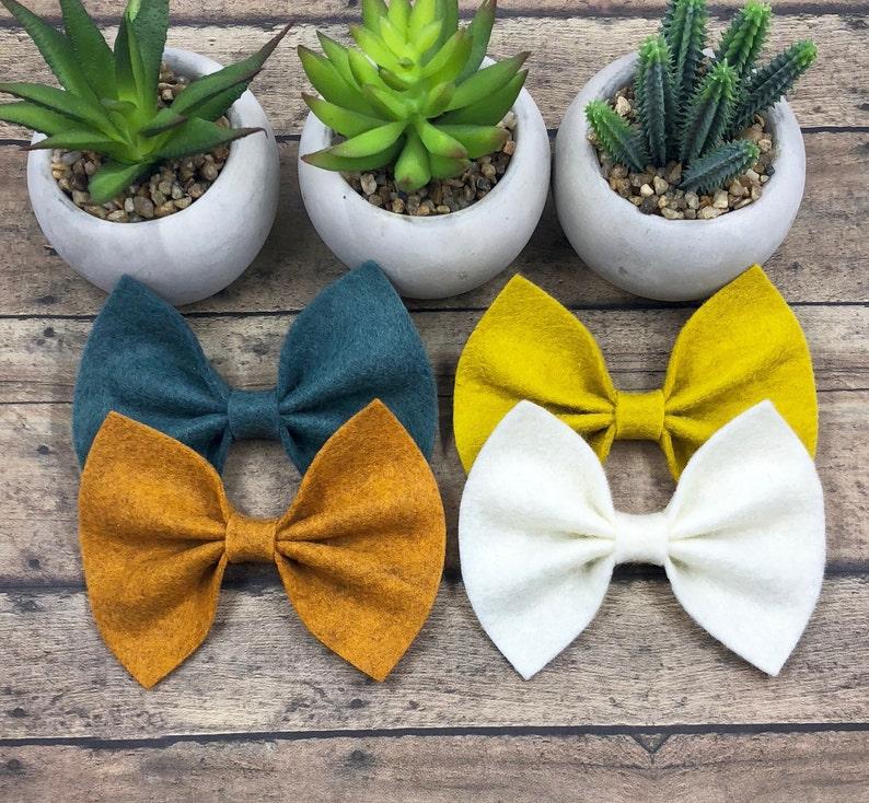 68 Colors Baby Bow Large Wool Felt Bow on Nylon or Clip Big Girl Bow Felt Butterfly Bow Large Felt Bow BUY 3 GET 1 FREE!