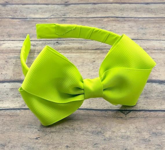 Neon Green Messy Bow Headband