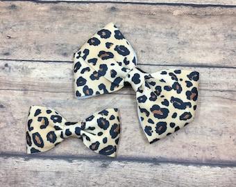 Leopard Print Bow on Your Choice of Elastic Headband, Hair Tie, or Clip, Buy 3 Get 1 Free, Custom Hair Bow, Leopard Print Hair Bow