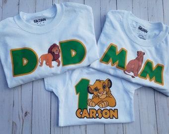 772edc185 lion king shirts- lion king first birthday- lion king birthday family shirts-  mom nala shirt- dad mufasa shirt- child simba shirt