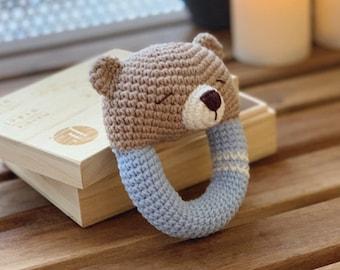 Rattle Pattern Teddy Bear Sleepy Crochet Rattle Toy Baby Crochet Pattern Rattle Teether Infant PDF Crochet Pattern