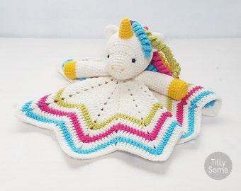 Sweet Unicorn Lovey Pattern   Security Blanket   Crochet Lovey   Baby Lovey Toy   Blanket Toy   Lovey Blanket PDF Crochet Pattern