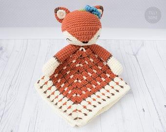 Sleepy Fox Lovey Pattern   Security Blanket   Crochet Lovey   Baby Lovey Toy   Blanket Toy   Lovey Blanket PDF Crochet Pattern