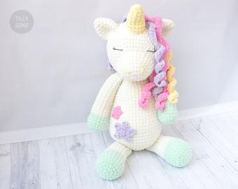 Big Plush Unicorn Crochet Pattern   Large Crochet Toy Pattern   Plush Unicorn Pattern   Crochet Cuddle Pattern
