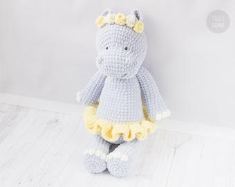 Big Plush Hippo Crochet Pattern | Large Amigurumi Pattern | Plush Unicorn Pattern | Crochet Cuddle Pattern