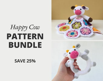 Crochet Pattern Set Bundle — Happy Cow Lovey and Happy Cow Rattle | Security Blanket | Comforter | Rattle | Teether | Crochet Bundle