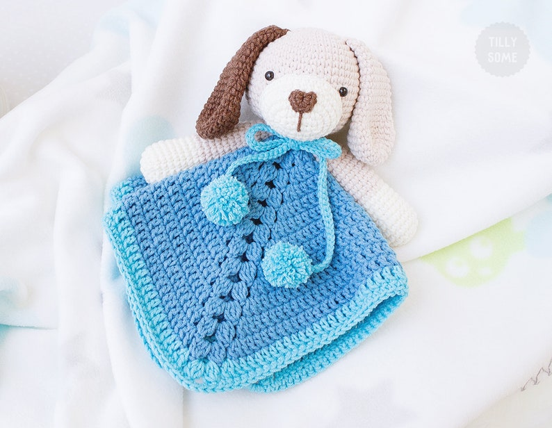 Ollie The Puppy Lovey Pattern Security Blanket Crochet Etsy