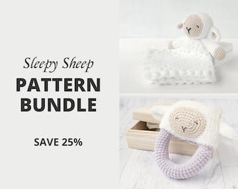 Crochet Pattern Set Bundle — Sleepy Sheep Lovey and Sleepy Sheep Rattle | Security Blanket | Comforter | Rattle | Teether | Crochet Bundle