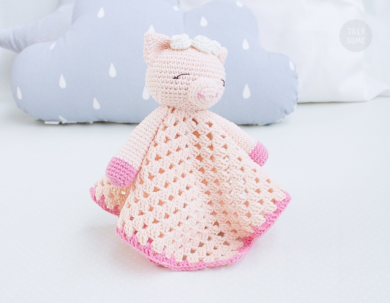 Sleepy Pig Lovey Pattern  Security Blanket  Crochet Lovey  image 0