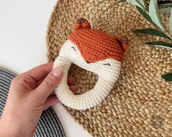 Sleepy Fox Baby Rattle | Teether PDF Crochet Pattern