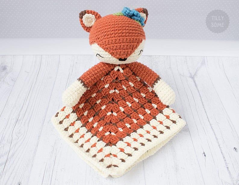 Sleepy Fox Lovey Pattern Security Blanket Crochet Lovey Etsy