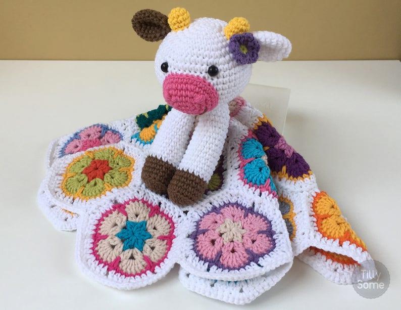 Happy Cow Lovey Pattern Security Blanket Crochet Lovey Etsy