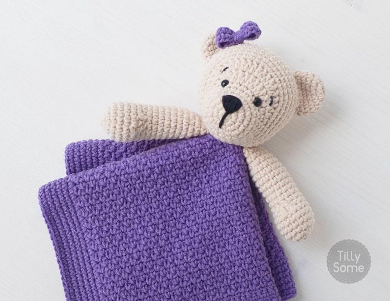 Ravelry: Lovey Blanket Bear Security Blanket Teddy pattern by Tatie | 613x794