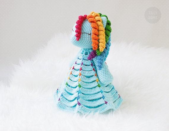 Crochet Pattern Security Blanket Rainbow The Pony Lovey Etsy