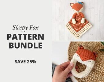 Crochet Pattern Set Bundle — Sleepy Fox Lovey and Sleepy Fox Rattle | Security Blanket | Comforter | Rattle | Teether | Crochet Bundle