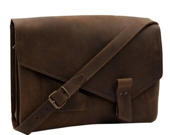 5a7e09caa6f2f Vintage Umhängetasche - Messenger Bag CARLOS aus braunem old antik Leder  inkl. Lederpflege von Thielemann - MADE in GERMANY