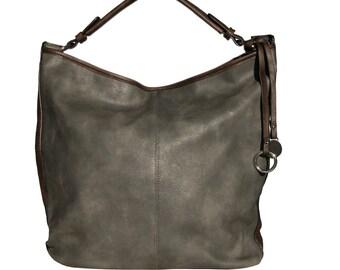 13aefc1d43632 Damen Shopper - Umhängetasche STELLA aus strapazierfähigem Kunstleder in  grau - Handmade