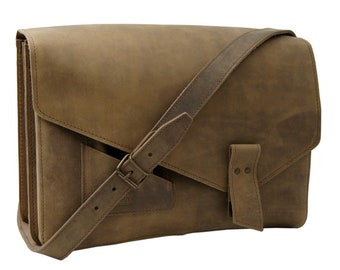 Handbag-Document Bag Charlie made of brown antique leather in vintage styl-handmade in Germany