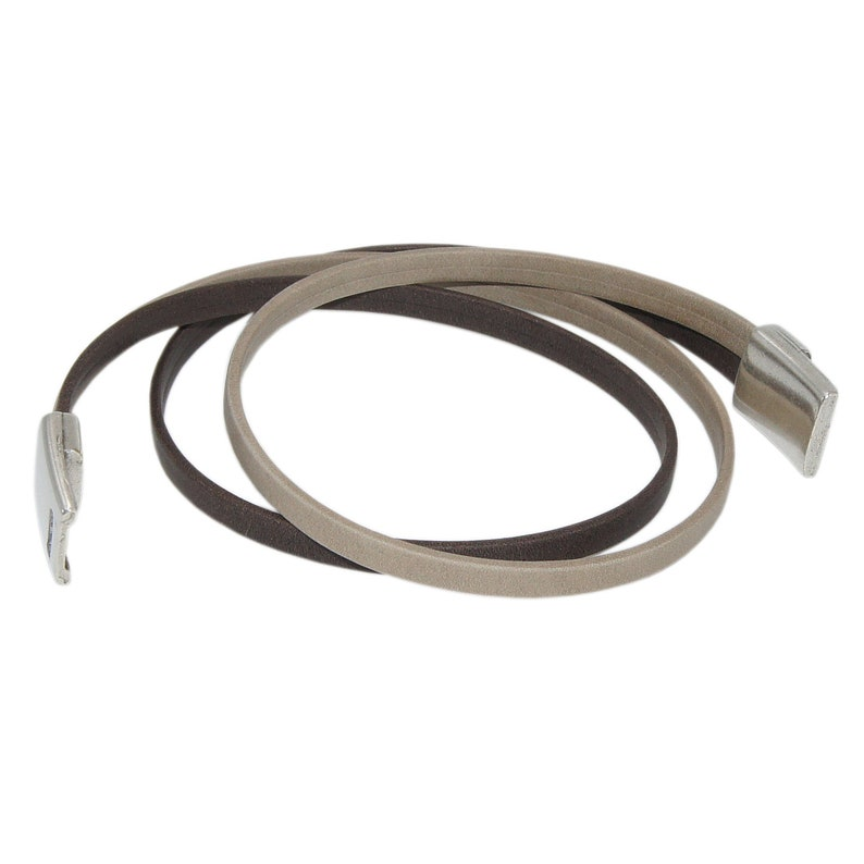 Ladies Wrap bracelet-leather bracelet Elina made of genuine leather in brown with magnetic closure-handmade in Germany