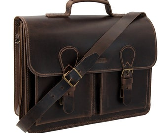 Men's briefcase-shoulder bag Darius in brown leather incl. free leather care-handmade in Germany