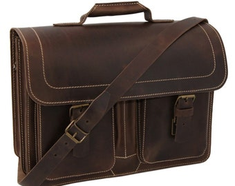 Briefcase-briefcase Artur made of brown leather incl. free leather care-handmade in Germany