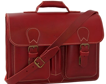 Women's briefcase-laptop bag Adele leather in red incl. free leather care-handmade in Germany