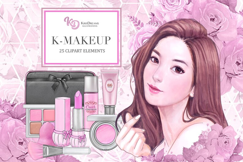 5da50d0437f5 Korean Makeup, Clipart Set, Cosmetic Elements, Fashion Illustration,Beauty,  Make Up, Roses, Lipstick, Blush, Brush, Eye Shadow, Purse