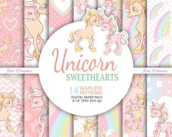 Unicorn Pattern Unicorn Digital Paper Seamless Pattern Heart Pattern Rainbow Background Unicorn Lover Pastel Background Planner Sticker