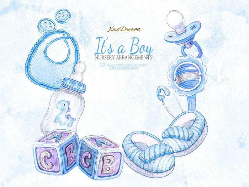 Baby Boy Kindergarten Clipart Arrangements Aquarell Clip Art Etsy