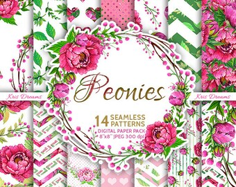 "Peonies Seamless Digital Paper High Quality 8""x8"" Scrapbooking Paper Pink Green"