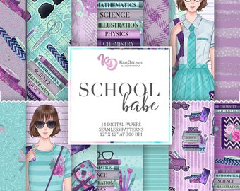 Back to School Illustration Digital Paper Seamless Pattern Books College Cellphone Notebook Washi Tape Laptop Woman Illustration School Babe