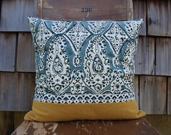 Gorgeous and Colourful Bohemian Style Pillow made from a Block Print Textile from India 16x16 - Maribelle