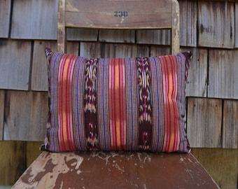 Bright and Colourful Small Lumbar Pillow made from Guatemalan Textile 12x16 - Raya
