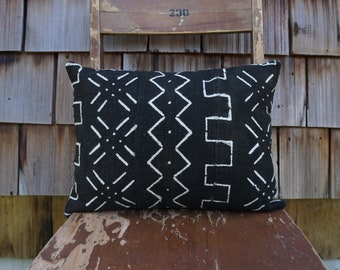 Black and White Boho-Style Pillow made from African Mudcloth 12x16 - Stevie