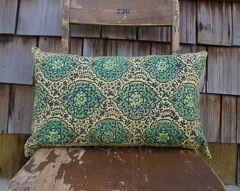 Colourful and Bright Lumbar Pillow made from Indian Block Printed Textile 12x20 - Marina