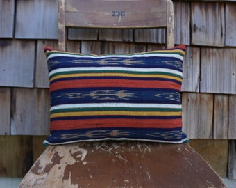 Colourful and Cute Small Lumbar Pillow made from Woven Guatemalan Textile 12x16 - Isabelle