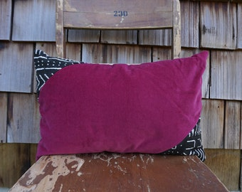 Colourful and Cozy Lumbar Pillow made from Super Soft Fuchsia Velvet and Black/White African Mudcloth 12x18 - Sybil
