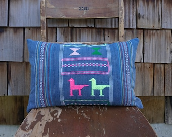 Hand Woven Colourful Lumbar Pillow with Bright Embroidery made from Vintage Textile 12x18 - Foster