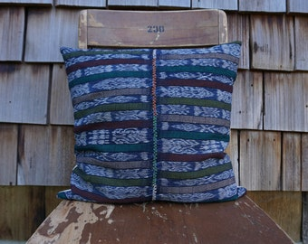 Hand Woven Colourful Pillow made from Vintage Embroidered Corte from Guatemala 16x16 - Sadie