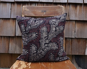Gorgeous Square Pillow made from Handwoven and Dyed Batik Textile from Indonesia 16x16 - Arabella