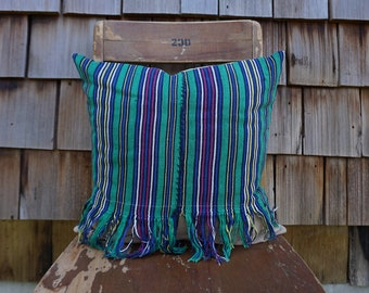 Hand Woven Colourful and Bright Pillow with Fringe made from Vintage Guatemalan Huipil 16x16 - Erica