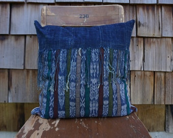 Gorgeous Hand Woven Boho Pillow with Fringe made from Vintage Guatemalan Textile and Hand Dyed African Indigo 16x16 - Declan