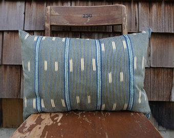 Handmade Bohemian Lumbar Pillow made from Hand Woven Vintage Baule Textile from West Africa 14x20 - Emma