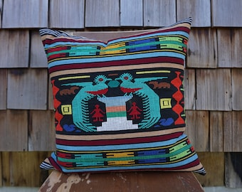 Hand Woven Colorful Large Square Pillow made from Guatemalan Textile with Birds 20x20 - Quetzal