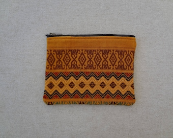 Hand Woven Intricate and Colourful Zippered Pouch made from a Oaxacan Textile - #113