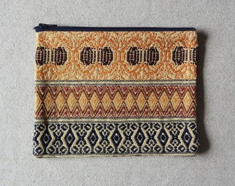 Zippered Pouch made from an Intricately Hand Woven Textile from Oaxaca Mexico - #99