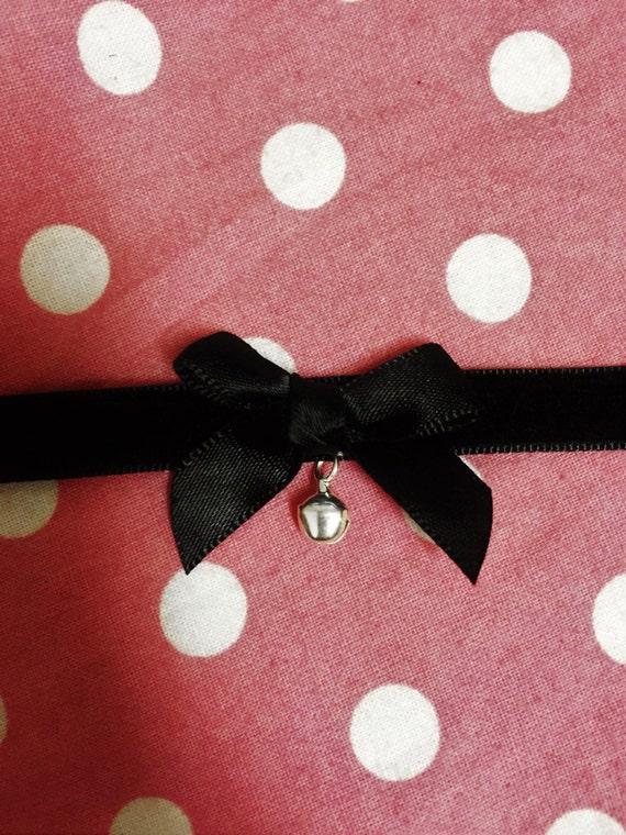 egirl dark cloth collar choker necklace anime neko cosplay kawaii pendent
