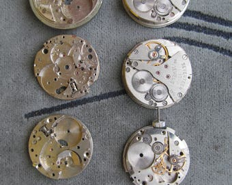Steampunk Gears,mechanical watch parts Gears Cogs/Spare Parts/Watch details movements/one lot of 7 mechanisms USSR vintage watch